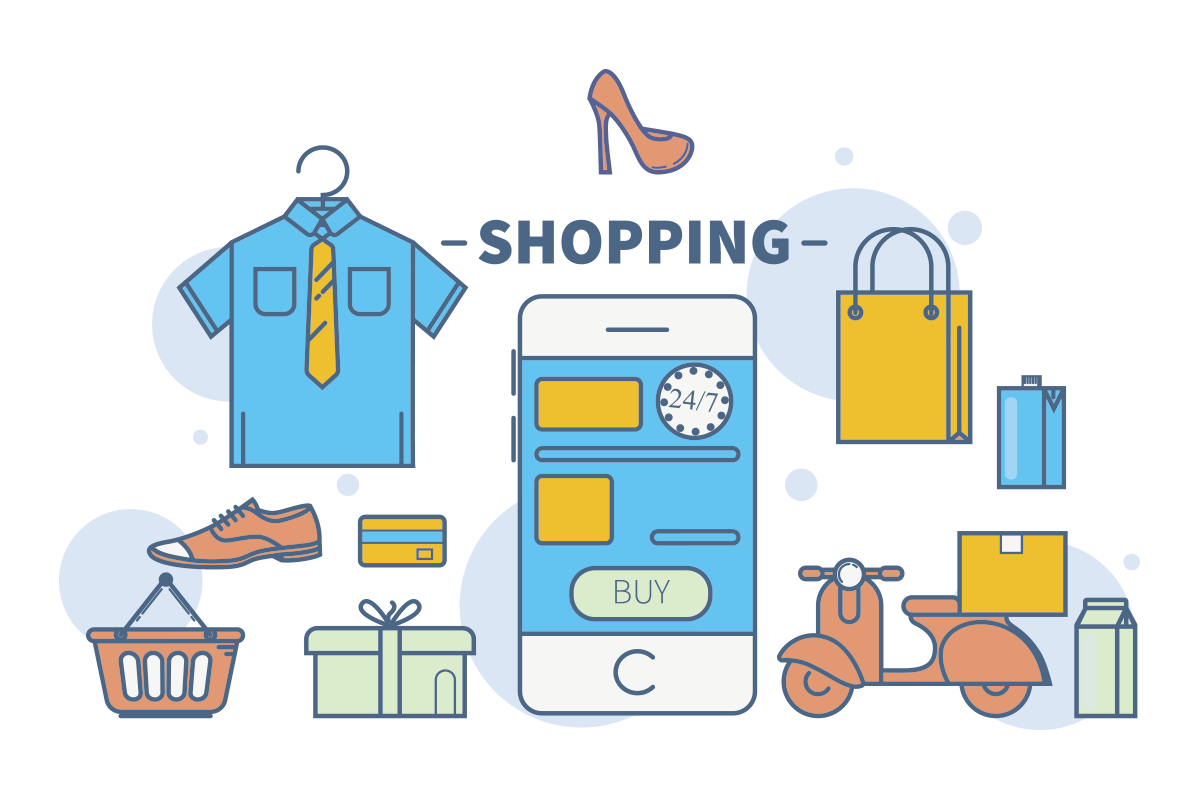 Shopping materials graphic with cell phone, shoe, bag, card, giftbox, milk